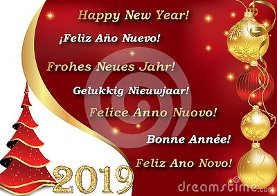 Happy New Year 2019 - written in 7 languages