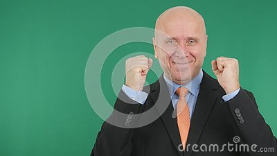 Businessman Image Smile and Gesticulate Enthusiastic With Green Screen in Backgr