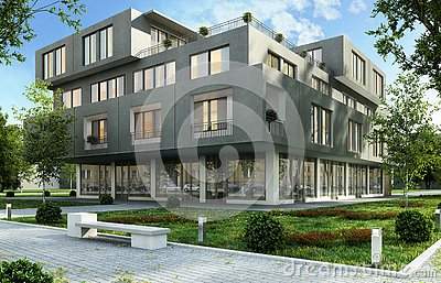 Modern office and apartment building in a green residential area of the city