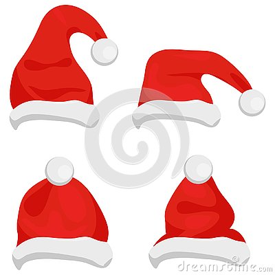 Santa Claus hats of red color, traditional costume element for winter character. Santa christmas hat vector illustration. Red sant