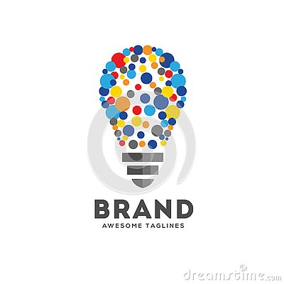Vector light bulbs with particle dots logo