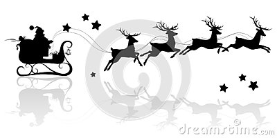 Santa Claus silhouette riding a sleigh with deers
