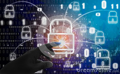 Abstract concept, fingers are touching padlock symbol, With protection of digital identity theft and privacy, Online database and