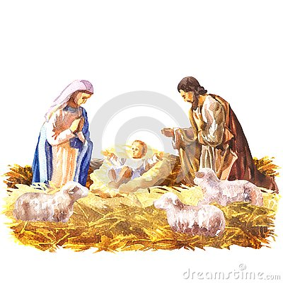 Christmas Crib, Holy Family, Christmas nativity scene with baby Jesus, Mary and Joseph in the manger with sheeps