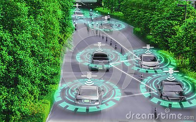 Futuristic smart car genius for intelligent self driving,Artificial Intelligence system AI,Concepts of driving control and