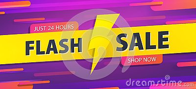 stock image of yellow tag flash sale 24 hour promotion website banner heading design on graphic purple background vector for banner or poster.
