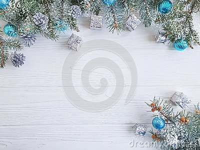Tree branch, ball gift decorate december frame seasonal decorative on white wooden background, snow