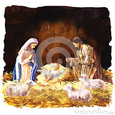 Traditional Christmas Crib, Holy Family, Christmas nativity scene with baby Jesus, Mary and Joseph in the manger with