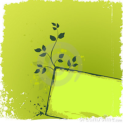Green floral background with grunge banner