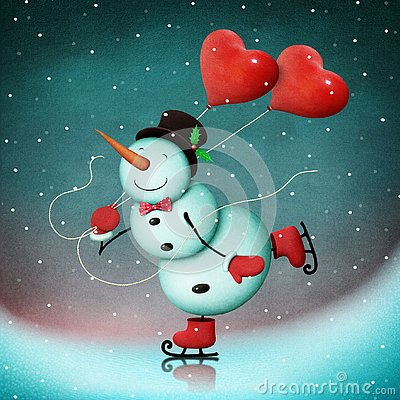 stock image of snowman on ice with hearts.