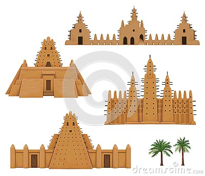 Set of buildings African architecture. House, mosque, ancient dwelling.