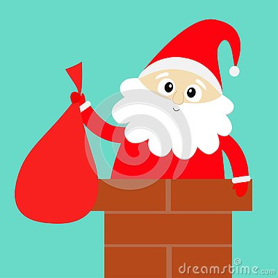 Santa Claus on the roof chimney. Red hat, costume, beard, belt buckle, bag. Merry Christmas. Cute cartoon kawaii funny character.