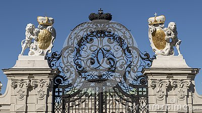 Closeup view elaborate wrought iron gate at entrance to the Upper Belvedere Palace, Vienna, Austria