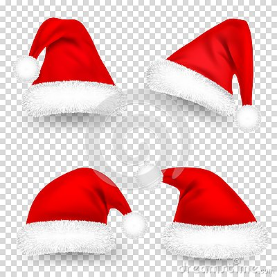 Christmas Santa Claus Hats With Fur and Shadow Set. New Year Red Hat Isolated on Transparent Background. Winter Cap