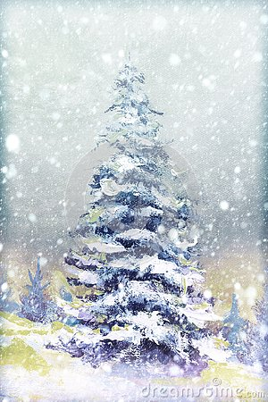 Winter snow background. Blurred snowflakes on Original oil painting - Christmas