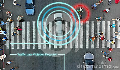 Smart robotic road control technology concept. Aerial from drone. Violation of traffic rules.