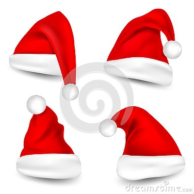 Christmas Santa Claus Hats With Shadow Set. New Year Red Hat Isolated on White Background. Vector illustration