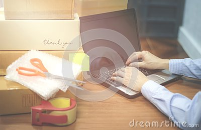 Shipping laptop selling things online ecommerce delivery shopping online and order concept
