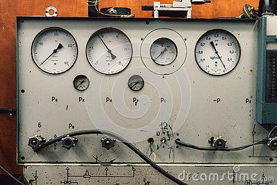 stock image of vintage ussr pressure meters