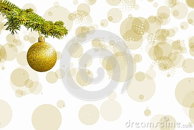 Fir tree branch with a golden glitter ball on white background. Bokeh effects. Christmastime. Christmas postcard