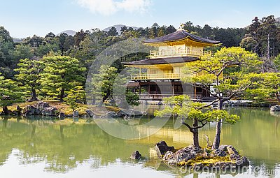 Picturesque scenery of famous Golden Pavilion temple in Kyoto Japan