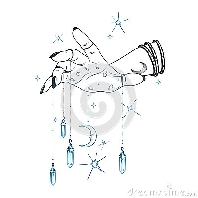 Female hand with gem pendants and moon hand drawn vector illustration. Boho chic astrology tattoo, poster, tapestry or altar veil