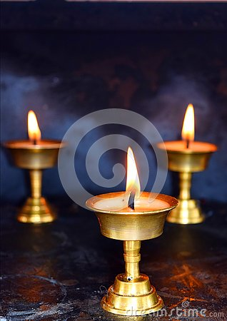 Three Brass Lamps - Diwali Festival in India - Spirituality, Religion and Worship