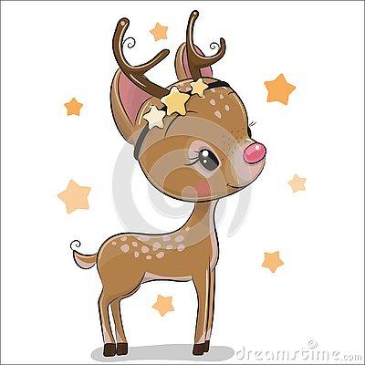 Cute Christmas deer isolated on a white background