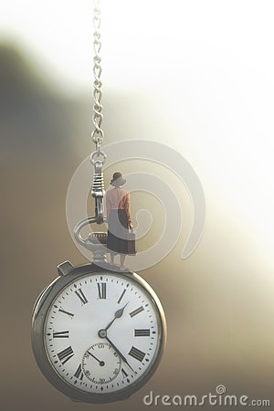stock image of surreal image of a business woman who travels under the control of fast-flowing time