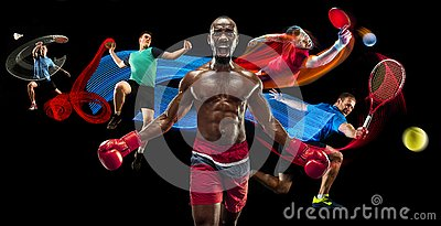 stock image of attack. sport collage about badminton, tennis, boxing and handball players
