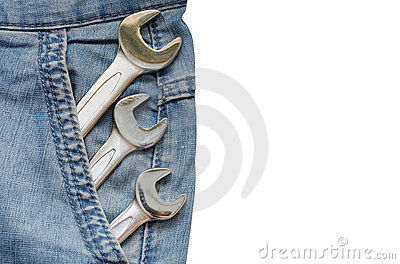 Three Wrenches in Blue Jeans Pocket