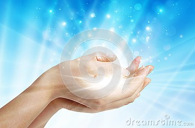 Hands with spark of hope, the light of faith background