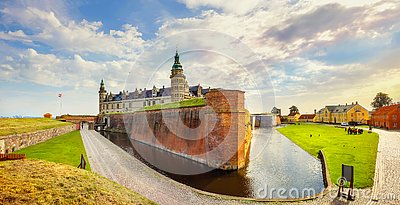 Fortifications with water canal and walls of fortress in Kronborg castle Castle of Hamlet. Helsingor, Denmark