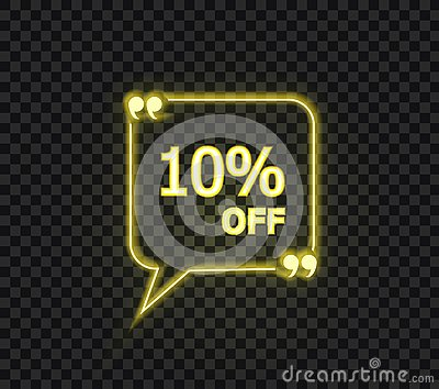 Vector 10 Percents Off Yellow Tag, Neon Yellow Sign Isolated on Dark Background.