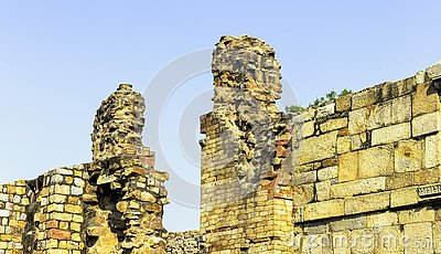 Ruined Quwwat ul-Islam Mosque known as Might of Islam at Qutub Minar complex in New Delhi