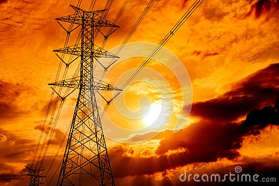High voltage electric pole and transmission lines. Electricity pylons at sunset. Power and energy. Energy conservation. High