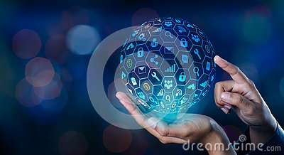 Icon Internet World In the hands of a businessman network technology and communication Space input data