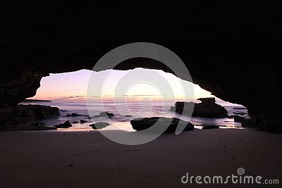The dawing of the day as seen from a sea cave