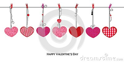 Shining pink red hearts. Happy Valentines Day card with hanging Love Valentines hearts background