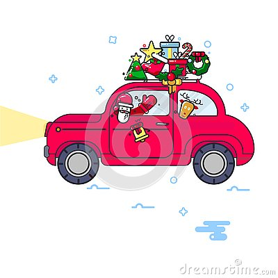 New Year. The red car carries a Christmas tree. The imagec in a line style