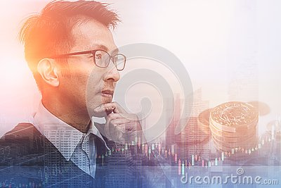 Asian businessman thinking and vision to future