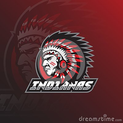 Indian tribe vector logo design mascot with modern illustration concept style for badge, emblem and tshirt printing. head indian