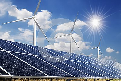 solar panel and wind turbine blue sky with sun background. concept clean power