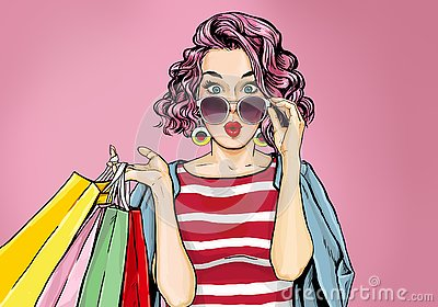 Amazed young woman in glasses with shopping bags in comic style.