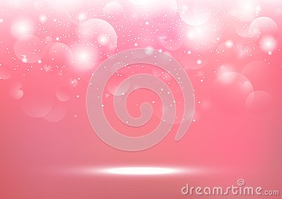 Valentines day, blurry heart Bokeh glitter bright pink abstract background seasonal holiday vector illustration