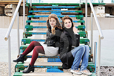 Girls sitting on the stairs