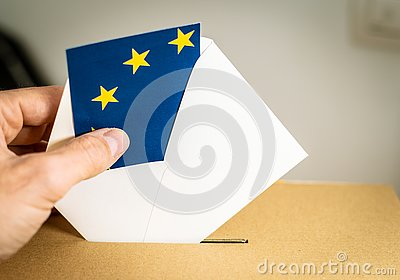 Election in European Union - voting at the ballot box.