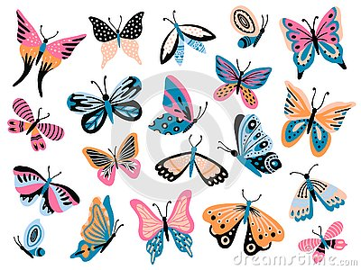 Hand drawn butterfly. Flower butterflies, moth wings and spring colorful flying insect isolated vector collection