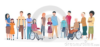 Handicapped people. People with disabilities happy friendly family. Disable injury persons with assistants