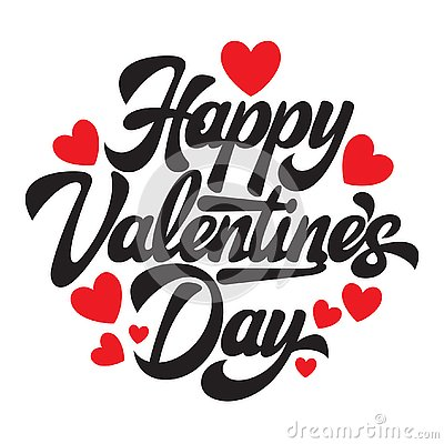 Calligraphic stylish vector inscription Happy Valentine s Day with hearts